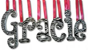 Zebra Print Custom Painted Wall Letters