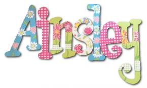 Hot Pink Gingham Garden Hand Painted Wall Letters