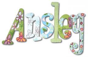 Green Gingham Garden Hand Painted Wall Letters