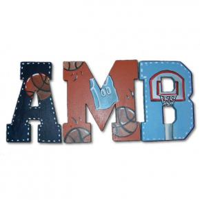 Basketball Theme Hand Painted Wall Letters Thumbnail