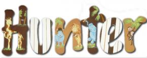 Animals on Safari Hand Painted Wall Letters