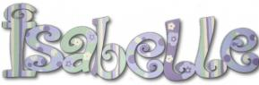 Lavender and Green Hand Painted Wall Letters