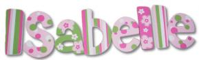 Isabelle's Hot Pink and Green Hand Painted Wall Letters