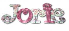Pink Gingham and Toile Hand Painted Wall Letters