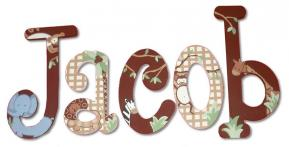 Cocoa Jungle Painted Letters with Checks Thumbnail