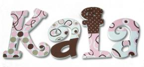 Chocolate Swirl on Pink Hand Painted Wall Letters
