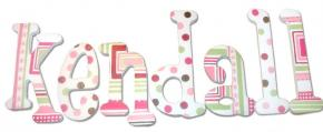 Pink and Green Geo Dot Handpainted Letters Thumbnail