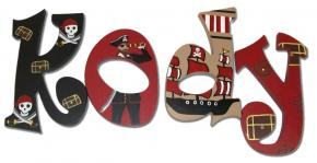 Pirate Theme Name Letters in Red & Black