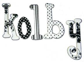 Black and White Handpainted Name Letters