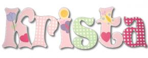 Pastel Gingham Garden Hand Painted Wall Letters