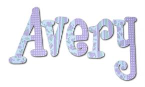 Lavender Gingham Garden Hand Painted Wall Letters