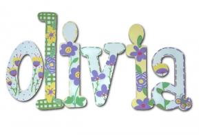 Purple Flower Patch Hand Painted Wall Letters