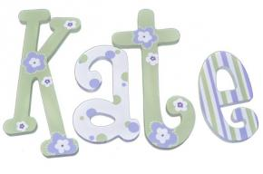 Lavender and Green Twist Hand Painted Wall Letters