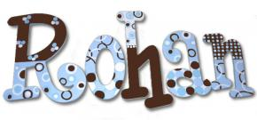 Chocolate Swirl on Blue Hand Painted Wall Letters