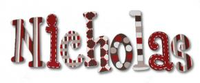 Red and Brown Delight Hand Painted Wall Letters