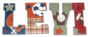 Sports Star Hanging Wooden Letters