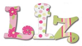 Petals and Polka Dots Hand Painted Wall Letters