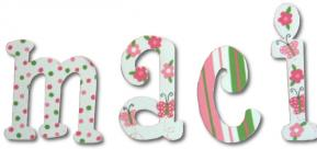 Polka Dot Butterfly Custom Painted Wall Letters