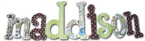 Green and Brown Paisley Splash Custom Painted Wall Letters