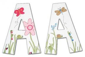 Custom Painted Wood Initials for Boy & Girl Twins