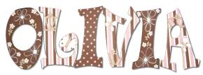 Pink and Brown Girls Wall Letters