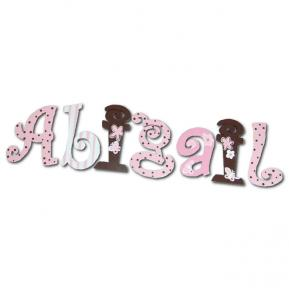 Pink and Chocolate Dot Custom Painted Wall Letters Thumbnail