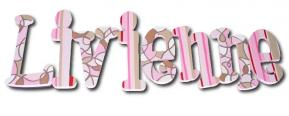 Pink Scribbles Custom Painted Wall Letters