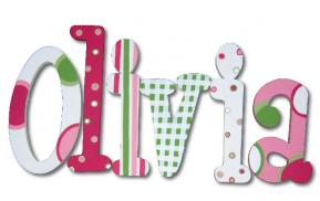 Olivia's Pink and Green Twister Wall Letters