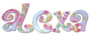 Pretty Poppies Custom Painted Wall Letters