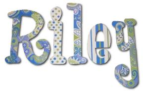 Blue and Lime Paisley Splash Wall Letters