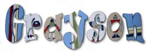 Robots Hand Painted Wall Letters