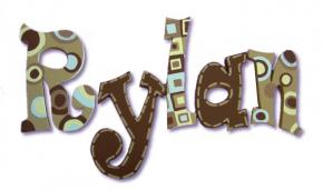 Chocolate Retro Dots Hand Painted Wall Letters