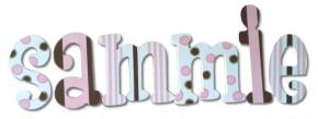 Pink and Chocolate Polka Dot Wall Letters