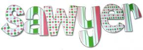 Melon and Lime Polka Dots Wall Letters