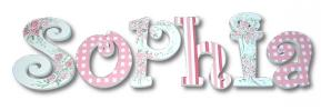 Gingham and Rose Hand Painted Wall Letters