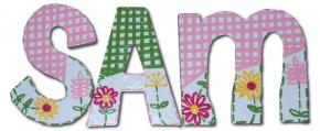 Sweet Sam's Gingham and Flower Wall Letters