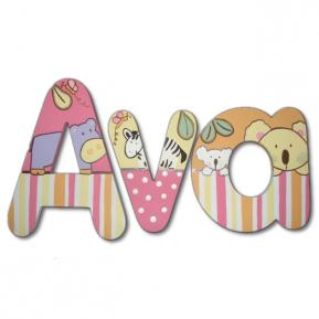 Tropical Punch Stripe Jungle Wall Letters (Ava) Thumbnail