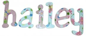 Hailey's Whimsical Garden Wood Wall Letters