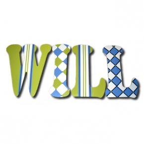 Preppy Blue & Lime Wood Wall Letters Thumbnail