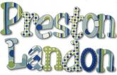Blue and Green Twister Wood Letters