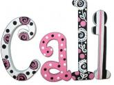 Pink, Black, and White Girls' Name Letters