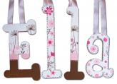 Modern Flower Letters in Pink and Brown