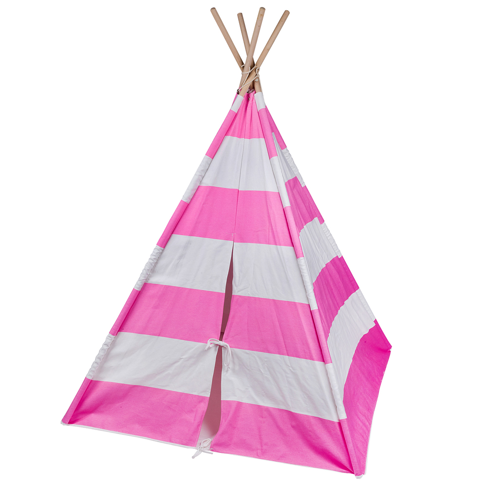 Pink Striped Kids Teepee Thumbnail 1